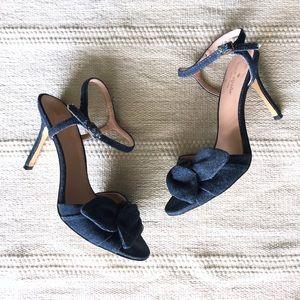 Kate Spade Knotted Indigo Denim Ankle Strap Heels